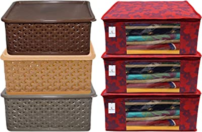 Kuber Industries Plastic 3 Pieces Small Size Multipurpose Solitaire Storage Basket with Lid (Multi) -CTLTC10899 & Metalic Flower 3 Piece Non Woven Saree Cover Set, Large, Red Combo
