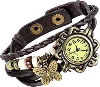 Lancardo Women's Braided Leather Straps Butterfly Charm Bracelet Bangle Watches(5 Colors)