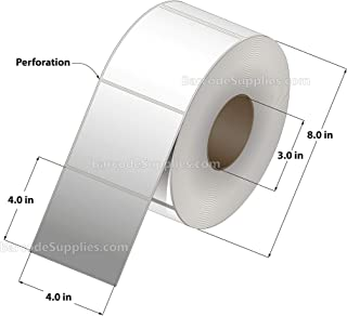 4 x 4 Direct Thermal Paper Labels - 1765 Labels/Roll - 4 Rolls - for Zebra, Datamax, Sato, Intermec and Rollo Printers