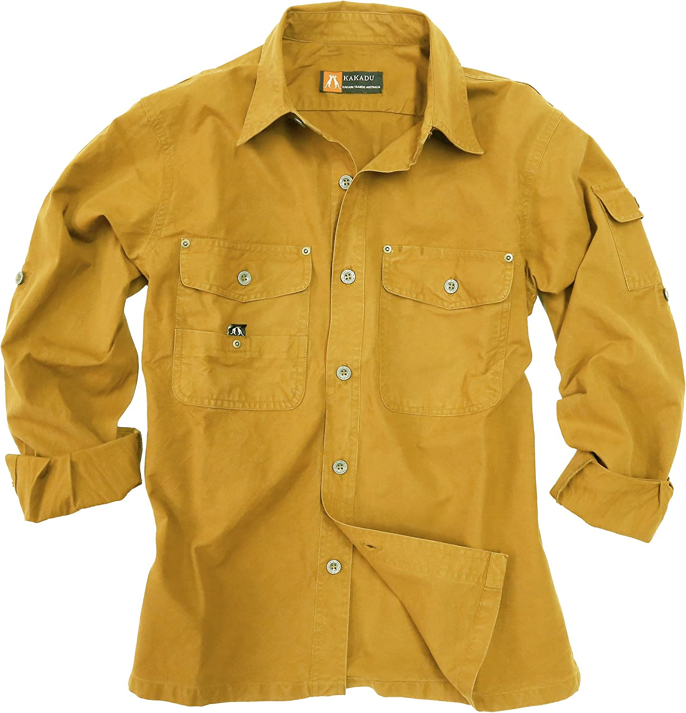 Kakadu Traders Australia Outdoor de Safari de Señor Camisa En Beige, Marrón y Verde de algodón Ligero, Manga Larga Camiseta de cuántos Nuestros Otros ...