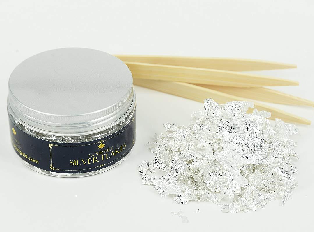Edible Genuine Silver Leaf Flakes By Barnabas Blattgold 350mg Jar