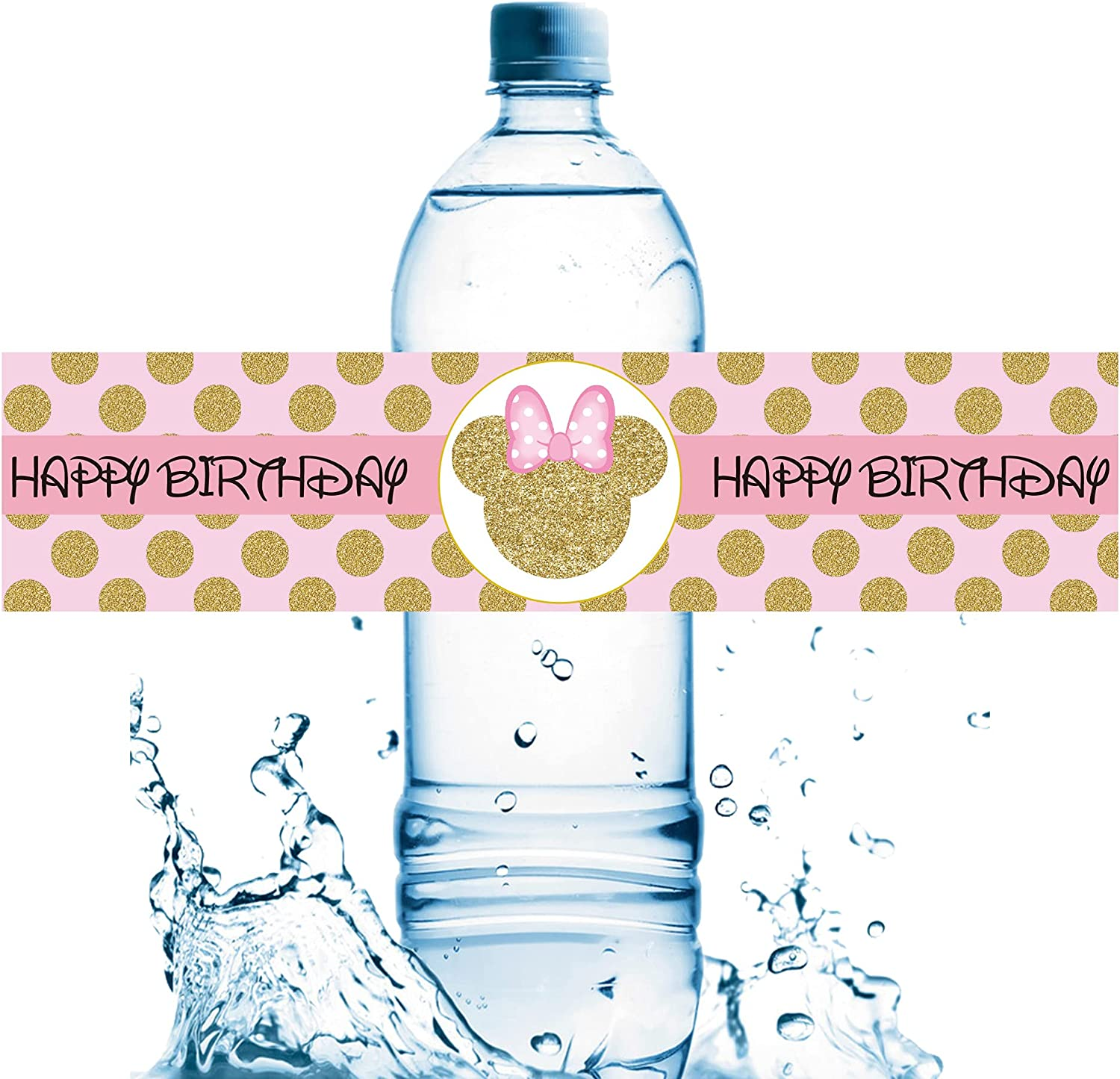 20 PCS Shipping Large discharge sale included Minnie Mouse Birthday M Party Labels Bottle Water