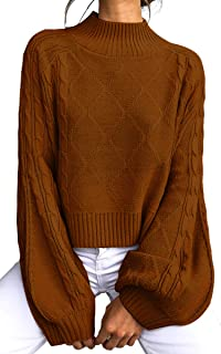 Angashion Women's Casual Loose Long Sleeve Mock Turtleneck Cable Knit Pullover Sweater Tops