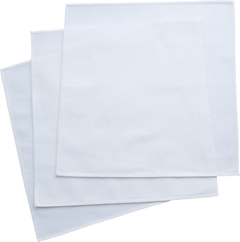 Organic Handkerchiefs Co, Men's White Bandannas Organic Cotton 18 inch Pack of 3