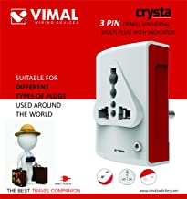 VIMAL - X111 Crysta 3 Pin Travel Universal Multi Plug with Indicator