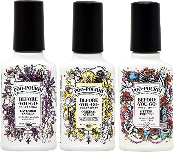 Poo Pourri Before You Go Toilet Spray Original Citrus Lavender Vanilla And Sitting Pretty 4 Ounce Bottles