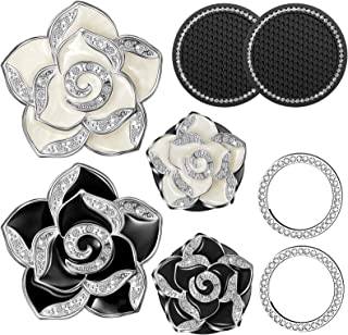 4 Pieces Bling Car Air Vent Clip Charms Black and White Camellia Flower Car Air Freshener Accessories with Aromatic Pad, 2...