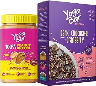 Yogabar Peanut Butter Dark Chocolate Muesli Combo | Pure Peanut Butter | Dark Chocolate Muesli | 400gm Each
