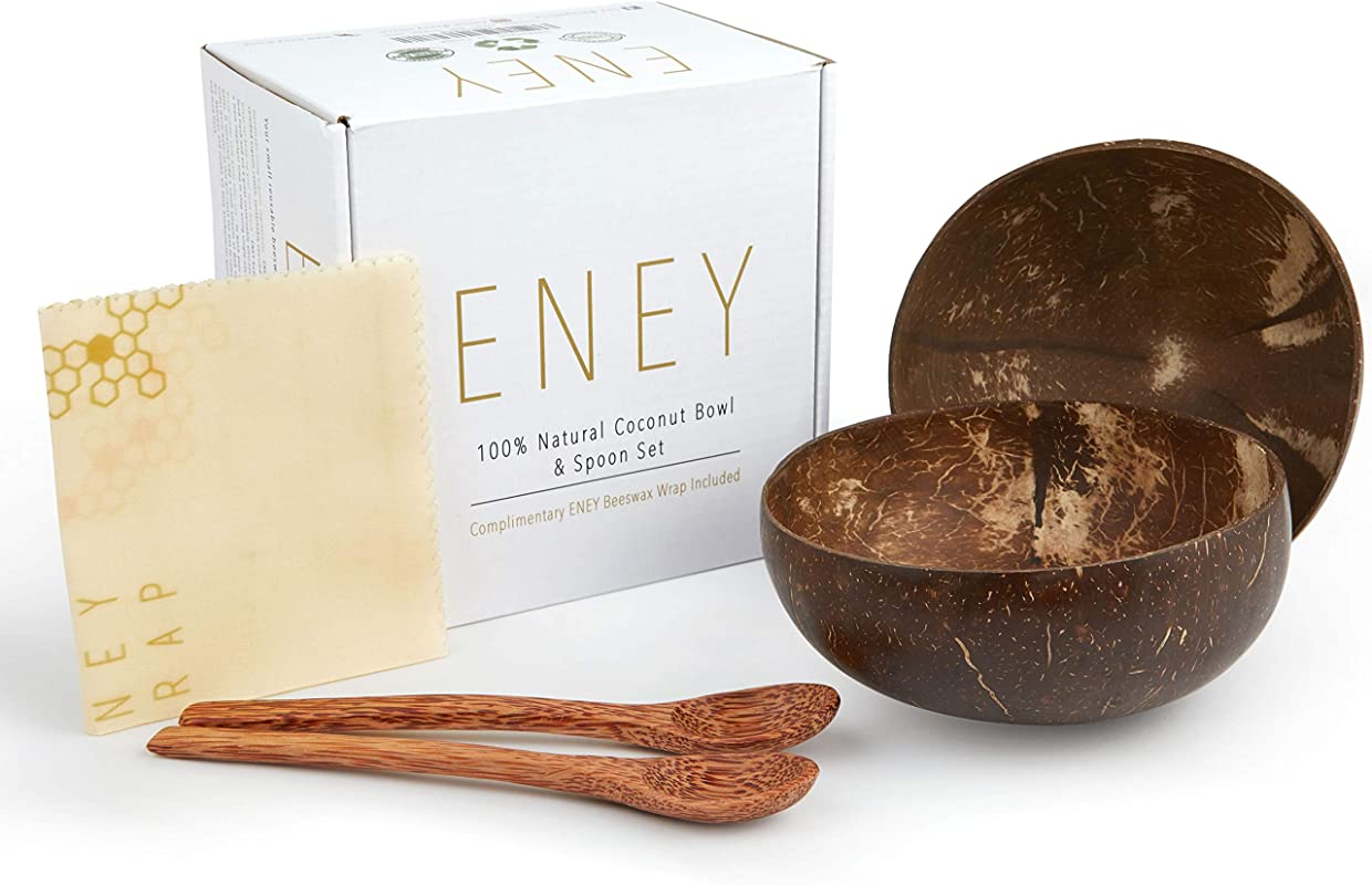 ENEY Sustainable Coconut Bowls And Beeswax Wrap Two Natural Polished Coconut Bowls Two Palm Spoons And One Small Beeswax Wrap 8 X9 Inches Eco Friendly Vegan Smoothie Bowls