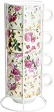 Grace Teaware Stackable Coffee Tea Mug Set of 4 With Metal Stand (Grace Rose Chintz)