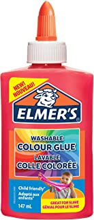 Elmer's Washable Colour PVA Glue | Pink | 147 ml | Washable and Kid-Friendly | Great for Making Slime and Crafting | 1 Count