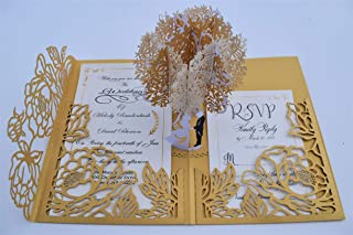 Pop up Wedding Invitation Pocket-Folds with Envelope. Memorable, Unique and Elegant Laser Cut 3D Design by Tada Cards. Perfect for Wedding Thank You Cards (Gold Flower Tree Sample)