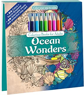 Ocean Wonders Adult Coloring Book Set With 24 Colored Pencils And Pencil Sharpener Included: Color Your Way To Calm