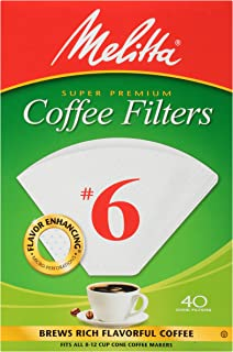Melitta #6 Super Premium Cone Coffee Filters, White, 40 Count (Pack of 12)