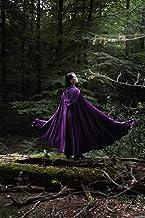 Capa morada medieval de terciopelo larga con capucha para mujer y hombre mago bruja fantasía raven cosplay
