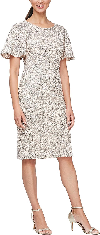 Alex Evenings Women's Short Cold Shoulder Flutter Sleeve Dress (Petite Regular)