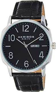 Men's Canvas Classic Watch - Clear Arabic Numerals with Date Window On a Comfortable Covered Genuine Leather Strap - AK801