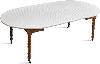 D'CLIC - Protège Table Elastiqué Blanc, Type bulgomme,pour Table Ovale, ou Ronde avec allonges, pour Une Table d'une Longu...