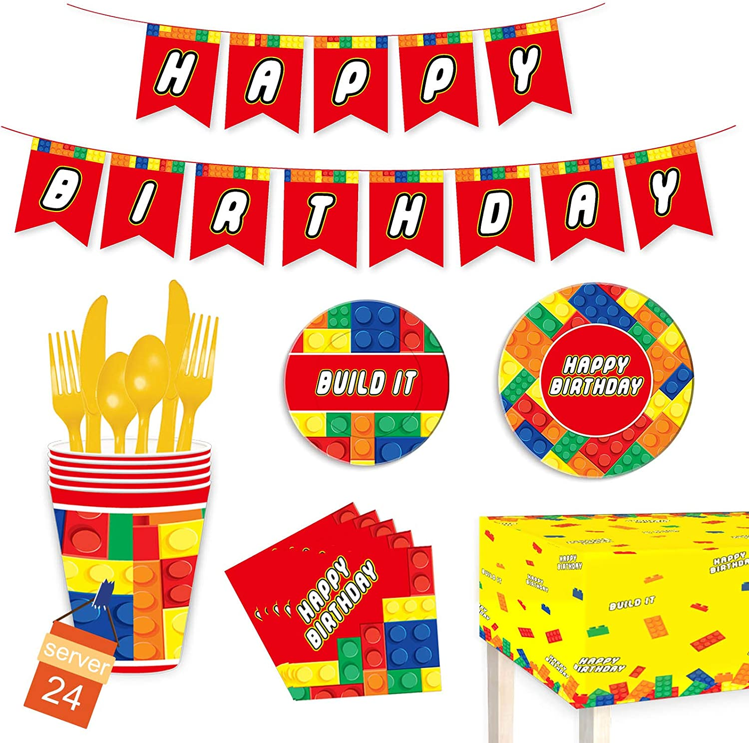 PRATYUS Building Block Party Supplies Including Plates, Cups, Napkins, Spoons, Forks, Knives, Tablecloth and Banner, Disposable Dinnerware Set for Colorful Building Party Decorations, Serves 24 Guests