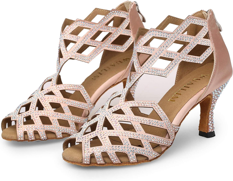 WUAILIM Women's Ballroom Rhinestone Dance Salsa Cheap super special price Shoes Special sale item Bac Latin
