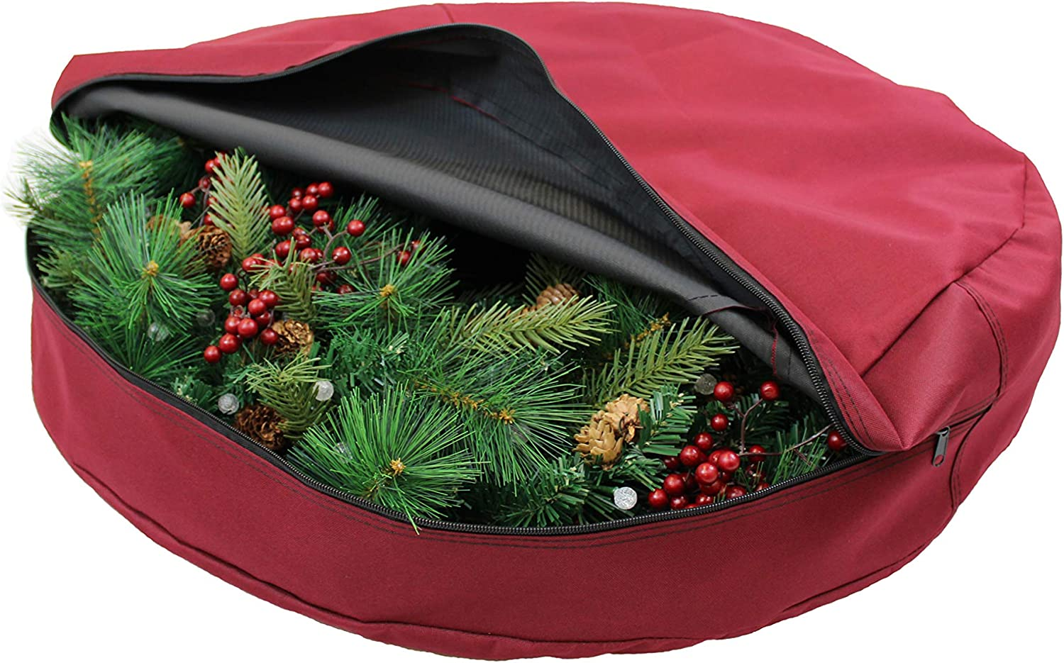 612 Vermont Super special price Christmas Wreath Storage Woven Bag Polyes Container quality assurance