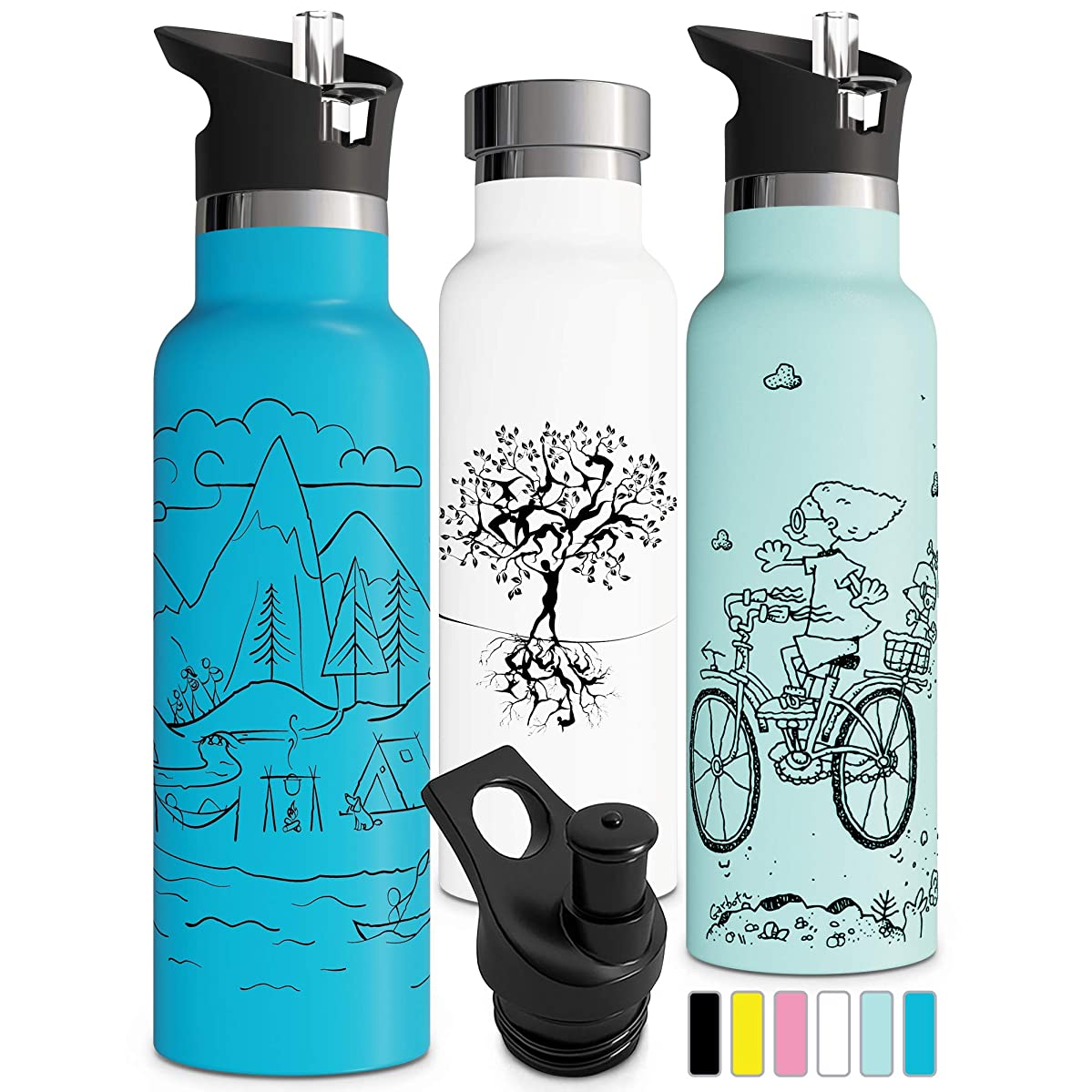 Double Insulated Water Bottle with BPA Free Straw Lid & Sports Cap | Stainless Steel Eco Friendly Non Sweat Durable Finish 17oz / 20oz / 25oz Metal Hydro Thermos Kids Water Bottle