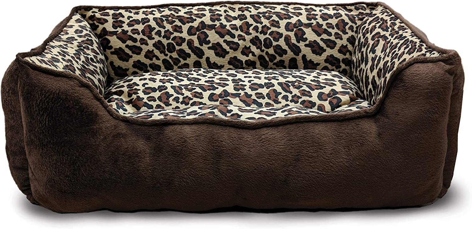 Ethical Products Spot Sleep Zone Cheetah Step in Pet Bed 31  Chocolate