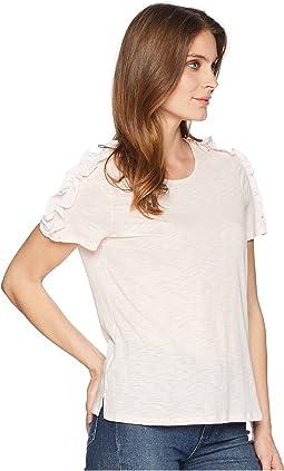 Short Sleeve Mix Media Knit Top