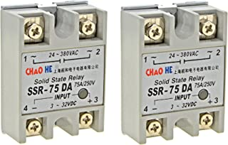 YXQ Solid State Relay SSR-75DA Single Phase Module Machinery Small AC Exchange Type Electronic Controller, Input 3-32VDC Output 24V-380VAC,2-Piece (SSR-75DA)