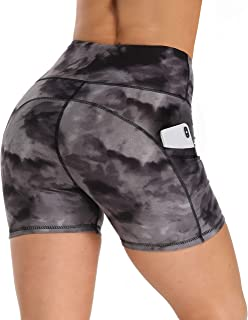 HLTPRO Yoga Workout Biker Shorts for Women – High Waisted Stretchy Running Shorts with Pockets