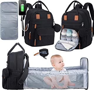 Diaper Bag Backpack with Auto Foldable Crib, Waterproof Travel Back Pack with Portable Changing Station, Multifunction Baby Bag with USB Charging Port (Black-Weave)