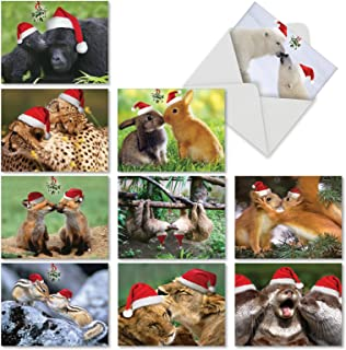 10 Assorted 'Holiday Animal Smackers' Note Cards with Envelopes 4 x 5.12 inch, Blank Greeting Cards with Animals Kissing Under the Mistletoe, Stationery for Christmas, New Year, Thanks M6594XSB