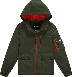 Wantdo Boy's Spring Camping Rain Jacket Lightweight Mesh Lined Raincoat Hooded Windbreaker