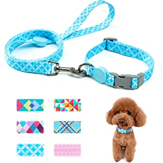 keezeg Dog Collar and Leash Set, Geometry Themed Pattern Dog Collar for Small Medium Large Dogs and Cats, Modern Pattern D...