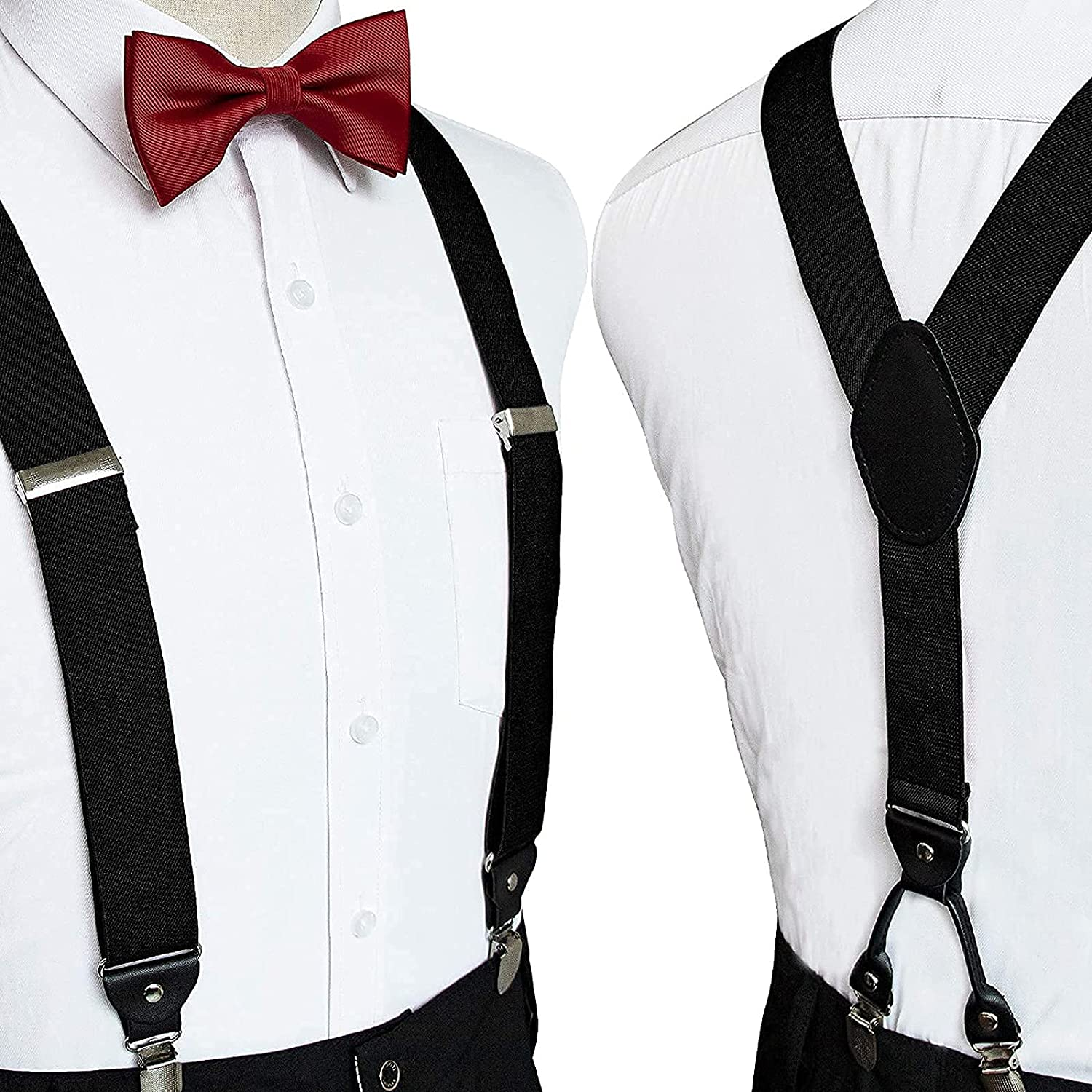 Bowtie and Suspenders for Men Y-shape Suspender Men's Back Bowtie Suspender Set for Weddings & Homecoming & Formal Events & Casual Outfit (Claret Red Bowtie)