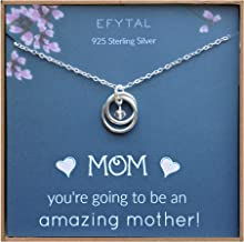 EFYTAL Baby Shower Gift, Sterling Silver Pregnancy Necklace for Expecting New Mom, First..