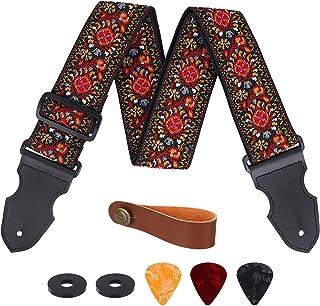 Sangle Guitare, Réglable Sangle de Coton avec Extrémités en Cuir, Vintage Tissage Jacquard Brodée en Motif Fleur, pour Bas...