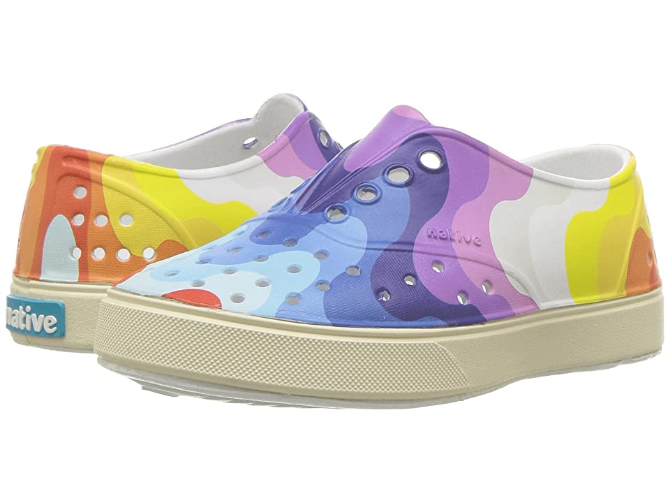 Native Kids Shoes Miller Print (Toddler/Little Kid) (Shell White/Bone White/Rainbow Wave) Kid