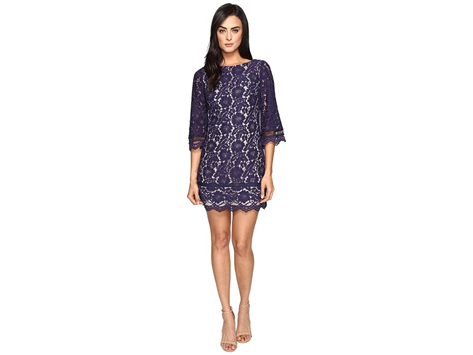 Vince Camuto Lace Elbow Sleeve Shift Dress (Navy) Women
