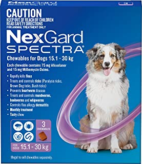 Nexgard N5838 Spectra - Flea, Tick and Worming Monthly Chew for 15.1-30kg Dog, 3 Pack, Purple, Large