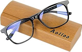 Aollaa ブルーライトカットメガネ パソコン用 PCめがね【TR90素材・軽量・UVカット・紫外線カット】伊達メガネ 度なし メンズ レディース キッズ ウェリントン (ブラック)