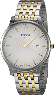 mens Tradition Stainless Steel Dress Watch Grey & Yellow Gold T0636102203700