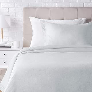 AmazonBasics Chambray Duvet Cover Bed Set - Twin or Twin XL, Cool Aqua
