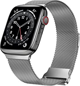 JuQBanke Magnetic Band Compatible with Apple Watch 38mm 40mm, Stainless Steel Mesh Milanese Strap with Adjustable Loop, Metal Wristband for iWatch SE Series 6 5 4 3 2 1 for Women Men, Space Gray