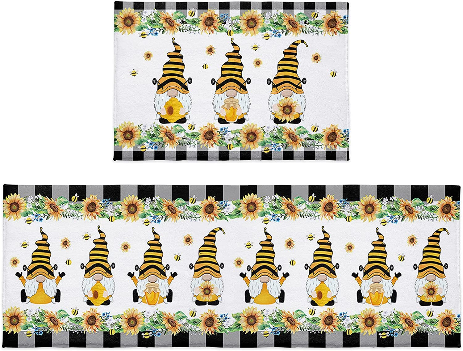 2 Pieces Kitchen Super special Columbus Mall price Rugs and Mats Wate Farm Sunflower Set Bee Dwarf