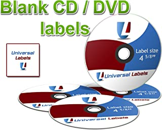 1000 Universal Labels CD/DVD Labels - 500 Sheets of Labels - White Matte - Will Work with Laser & Inkjet Printers