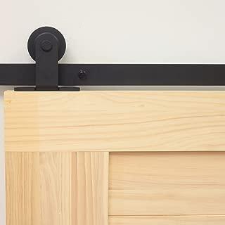 Homacer Sliding Barn Door Hardware Standard Double Door Kit, 5.5FT Flat Track T-Shape Design Roller, Black Rustic Heavy Duty Interior Exterior Use