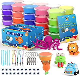 Cutedeer 36 Colors Air Dry Clay Kit for Kids, Magic Modeling Clay Ultra Light Clay with Sculpting Tools, Accessories & Tut...