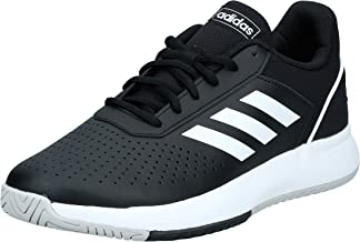 Adidas Courtsmash Perforated Genuine Leather Mesh-Accent Lace-up Side-Stripe Tennis Athletic Shoes for Men - Core, 41 1/3