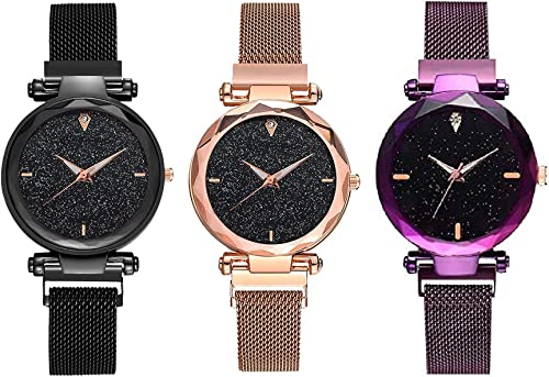 Women s Girl s Watch Black Purple Rose Gold Colored Strap Pack of 3